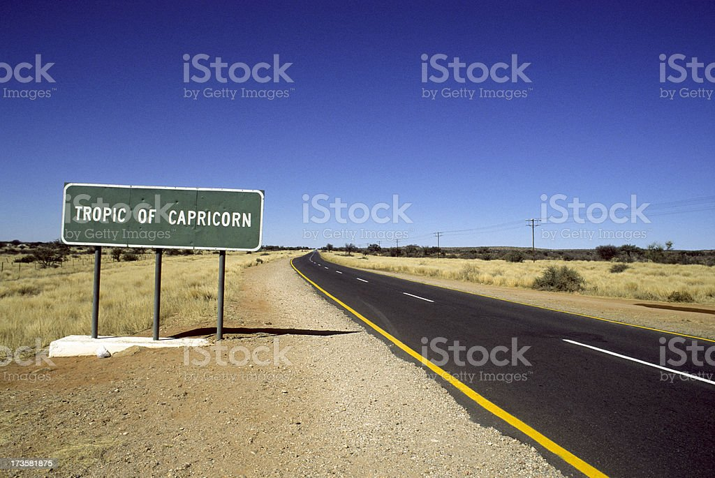 Long deserted road in Namibia along the Tropic of Capricorn
