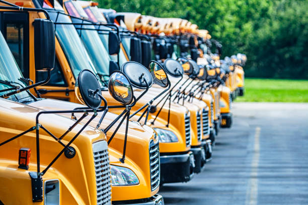 Long Row of Bright Yellow School Buses Parked in High School Parking Lot stock photo