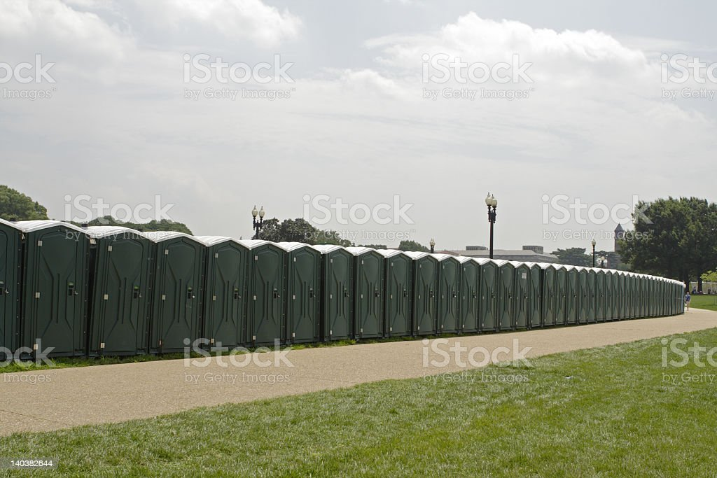 Long row of portable potties on the National Mall royalty-free stock photo