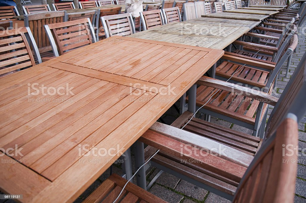 long row of tables royalty-free stock photo