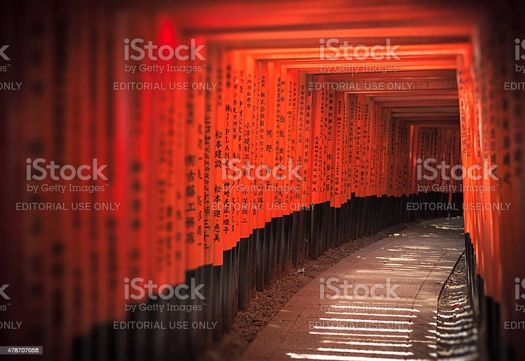 Long row of torii gates at Fushimi Inari-Taisha, Kyoto stock photo