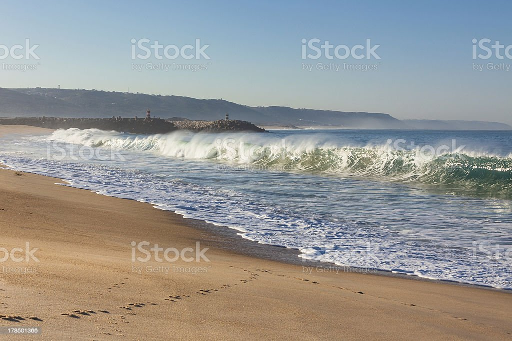 Long Sand Beach at Nazare, Portugal stock photo