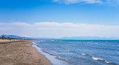 Wide and long sandy beach called Velika Plaza near Ulcinj, Montenegro