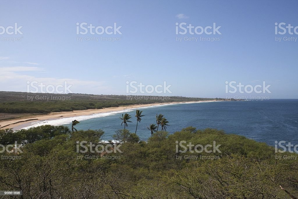 Long Sandy Beach on the Island of Molokai Hawaii stock photo