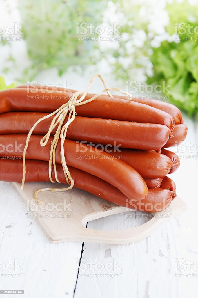 long sausages on board royalty-free stock photo