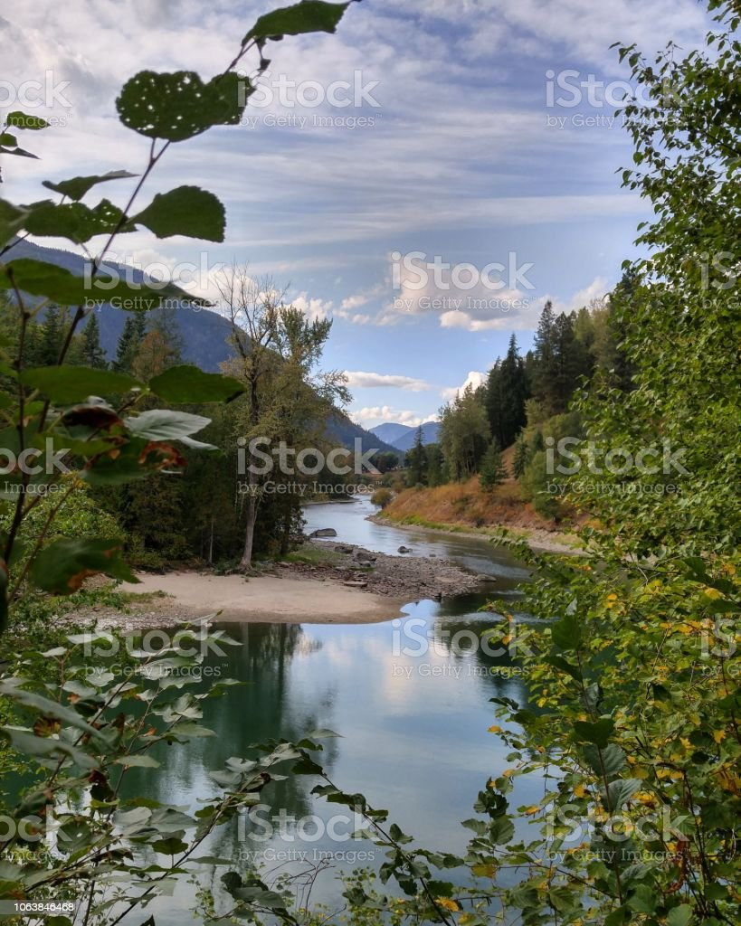 A long scenic landscape view of the Slocan River stock photo
