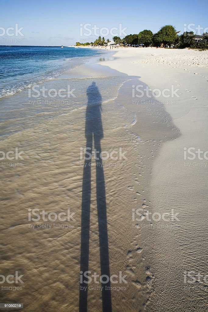 Long Shadow, Caribbean Beach stock photo