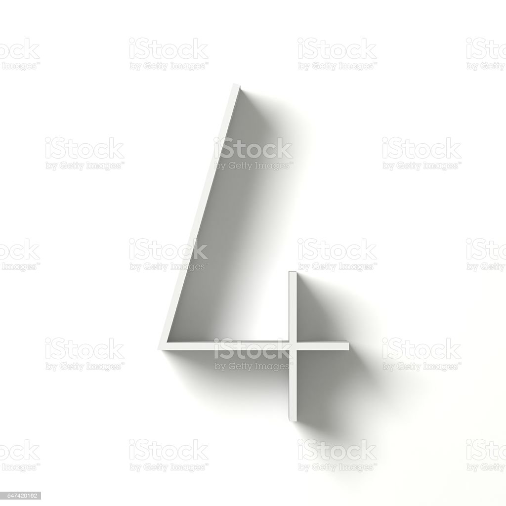 Long shadow digit. Number FOUR 4. 3D stock photo