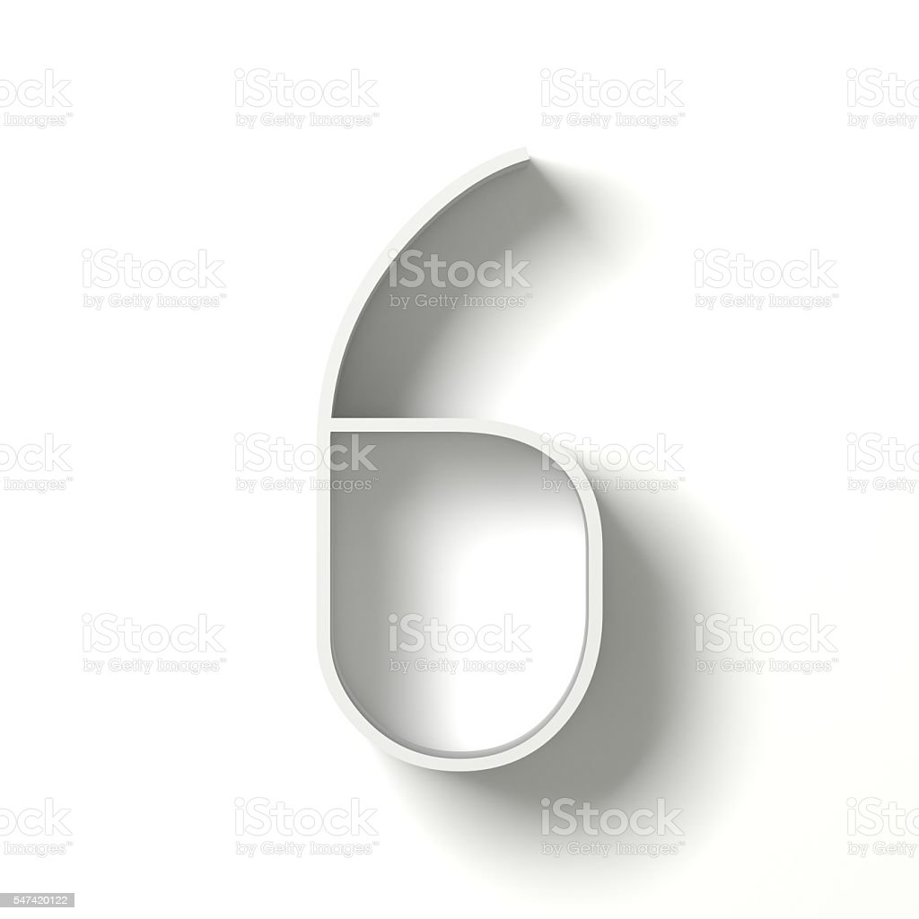 Long shadow digit. Number SIX 6. 3D stock photo