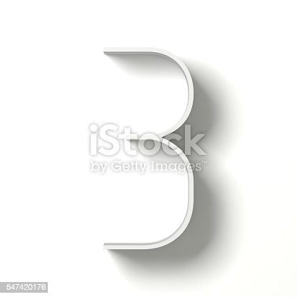 istock Long shadow digit. Number THREE 3. 3D 547420176