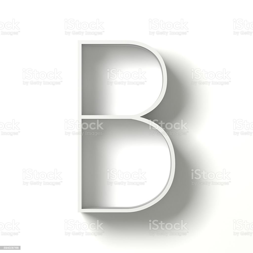 Long shadow font. Letter B. 3D stock photo