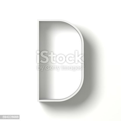 583978154 istock photo Long shadow font. Letter D. 3D 594028688