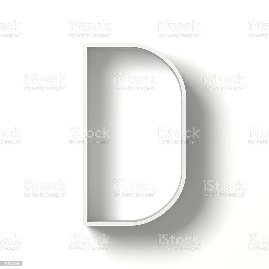 Long shadow font. Letter D. 3D stock photo