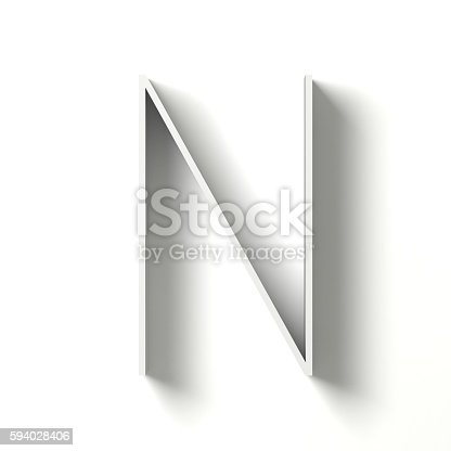 583978454istockphoto Long shadow font. Letter N. 3D 594028406