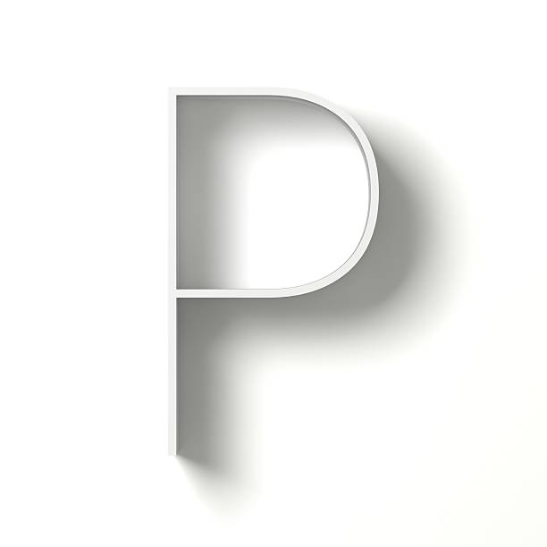 Long shadow font. Letter P. 3D Long shadow font. Letter P. 3D render illustration isolated on white background letter p stock pictures, royalty-free photos & images