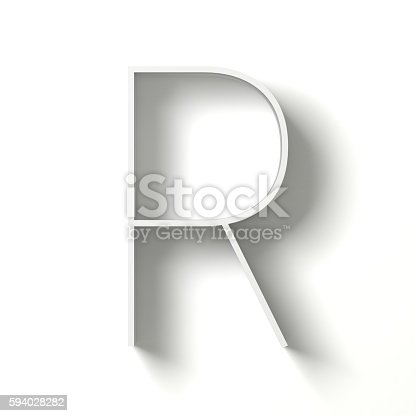 583978558istockphoto Long shadow font. Letter R. 3D 594028282