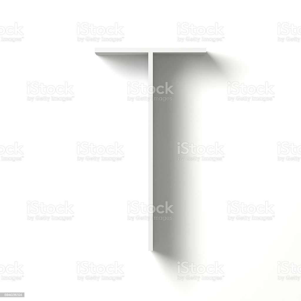 Long shadow font. Letter T. 3D stock photo