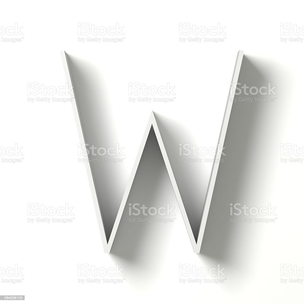 Long shadow font. Letter W. 3D stock photo