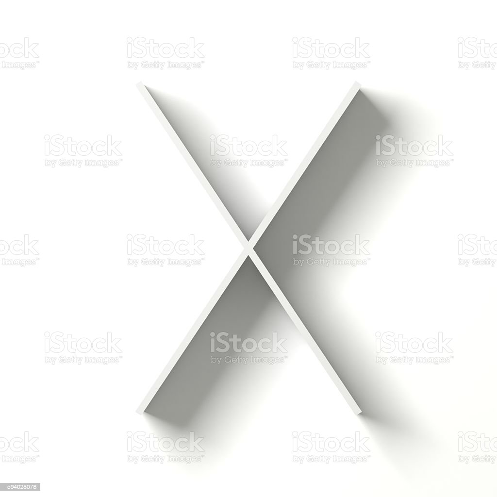 Long shadow font. Letter X. 3D stock photo