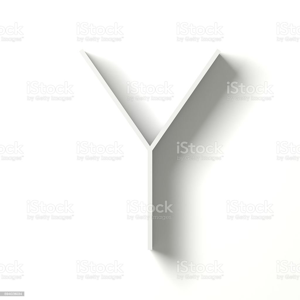 Long shadow font. Letter Y. 3D stock photo