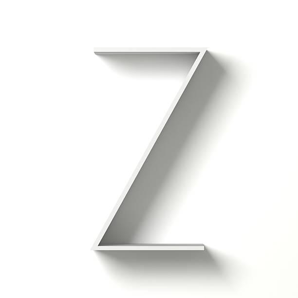 Long shadow font. Letter Z. 3D stock photo