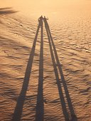 Long shadows in sand dune