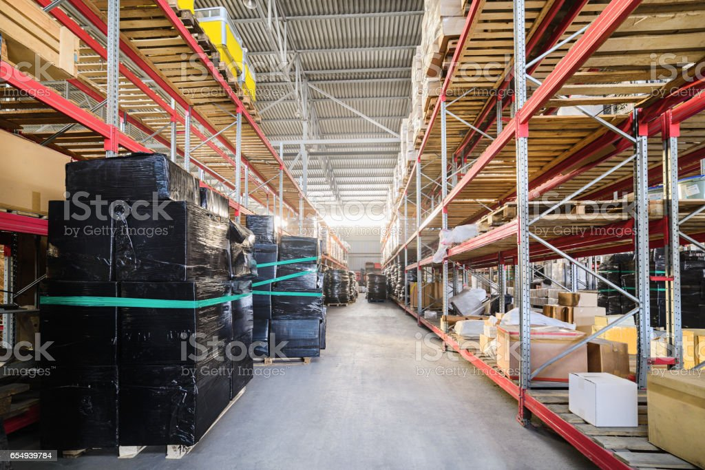 Warehouse of Commerce and Industry of transportation. Boxes and...