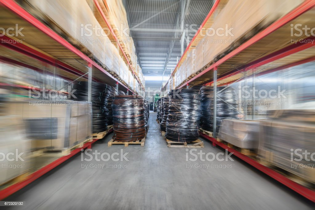 Warehouse industrial and logistics companies. Many boxes packed in a...