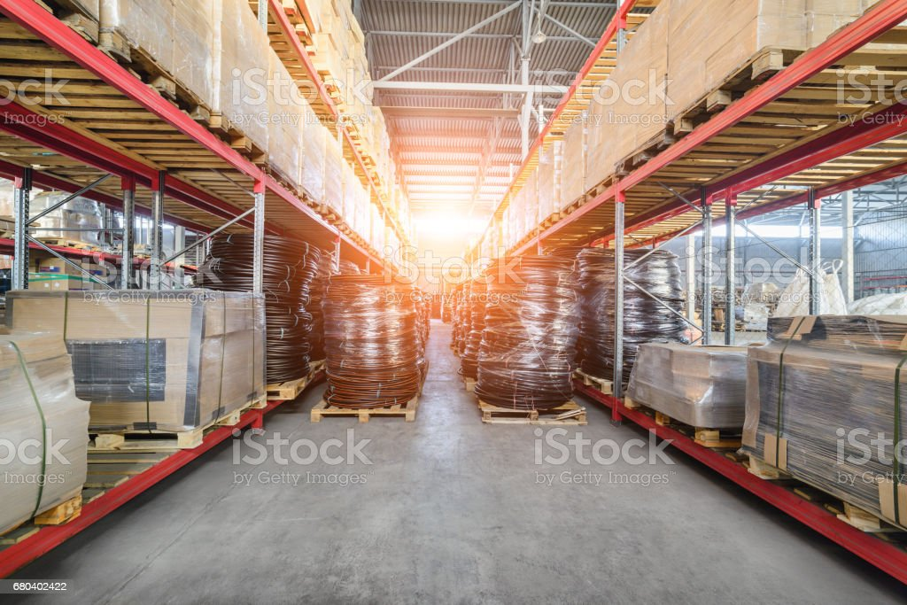 Warehouse industrial and logistics companies. The boxes on high...