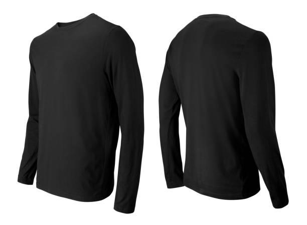 parte dianteira preta do t-shirt da luva longa e opinião lateral traseira isoladas no branco - camiseta preta - fotografias e filmes do acervo