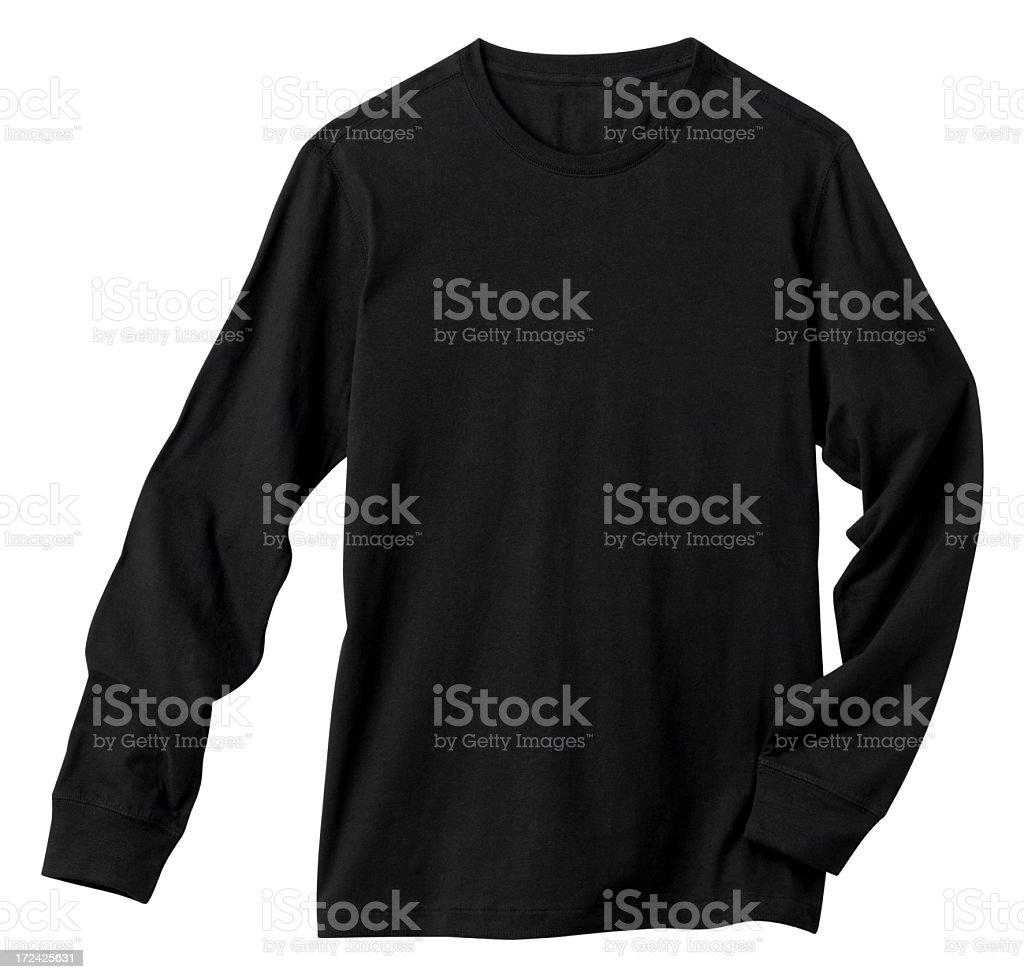 Long Sleeve Blank Black Tee Shirt, Isolated on White. royalty-free stock photo