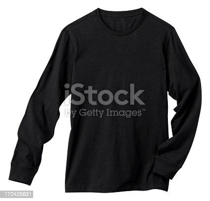 Front of a clean Black Long Sleeve T-Shirt, add your own Logo, Graphics or Words. Clipping Path. Shirt is just over 11