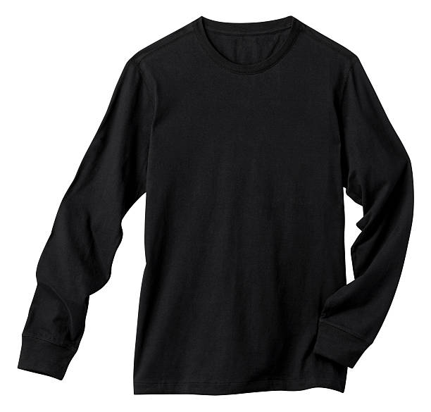 Long Sleeve Blank Black Tee Shirt, Isolated on White. Front of a clean Black Long Sleeve T-Shirt, add your own Logo, Graphics or Words. Clipping Path. Shirt is just over 11