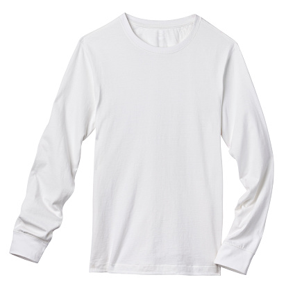 Front of a clean White Long Sleeve T-Shirt, add your own Logo, Graphics or Words. Clipping Path. Shirt is just over 11