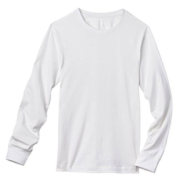 Long Sleeve Blank White Tee Shirt, Isolated on White. Front of a clean White Long Sleeve T-Shirt, add your own Logo, Graphics or Words. Clipping Path. Shirt is just over 11