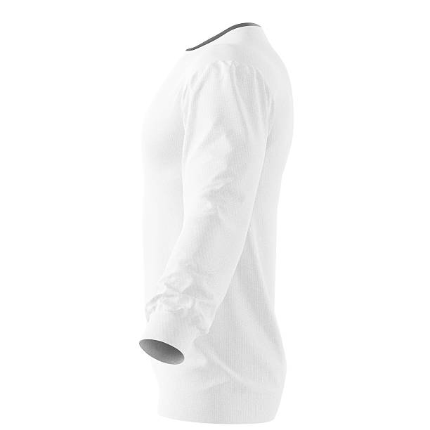 Long sleeve t-shirt Long sleeve white t-shirt. Isolated on white background. Include clipping path. 3d render long sleeved stock pictures, royalty-free photos & images