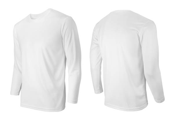 Long sleeve white t-shirt front and back side view isolated on white Long sleeve white t-shirt front and back side view isolated on white long sleeved stock pictures, royalty-free photos & images