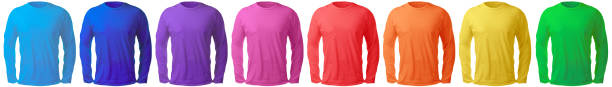 Long Sleeved Shirt Design Template in Many Color Blank long sleeved shirt mock up template, front and back view, isolated on white, plain t-shirt mockup in many color. Tee sweater sweatshirt design presentation for print. long sleeved stock pictures, royalty-free photos & images
