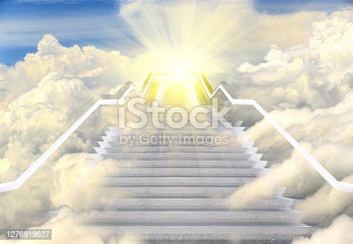istock Long Staircase high way to heaven, Empty Stair steps along Cloud in Sky 1276919527