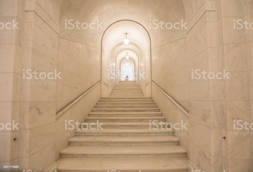 Long Stairway in the Supreme Court of the United States in Washington, DC stock photo