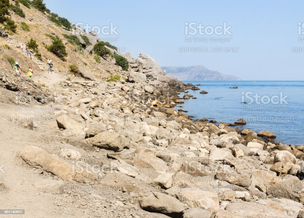 A long stony shore. royalty-free stock photo