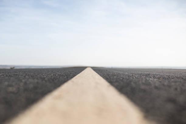 A Long Straight Empty Road stock photo