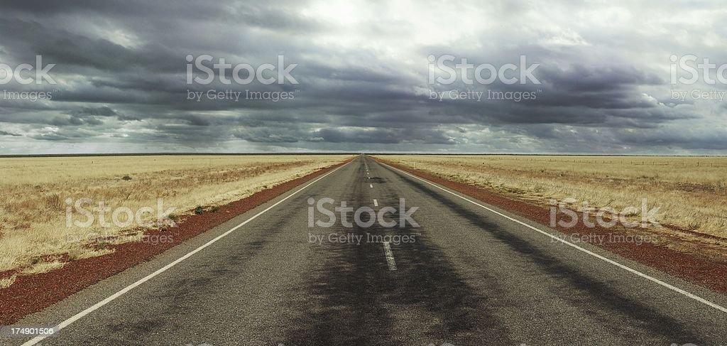 Long straight Road on Australia's Stuart Highway royalty-free stock photo