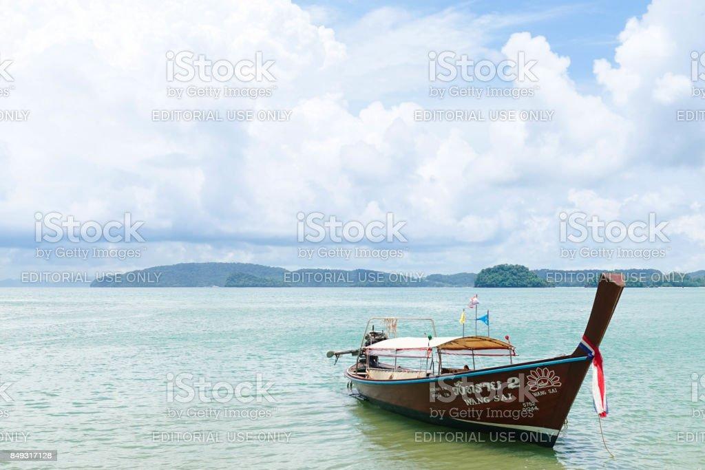 Long Tail Boat at Krabi coast stock photo