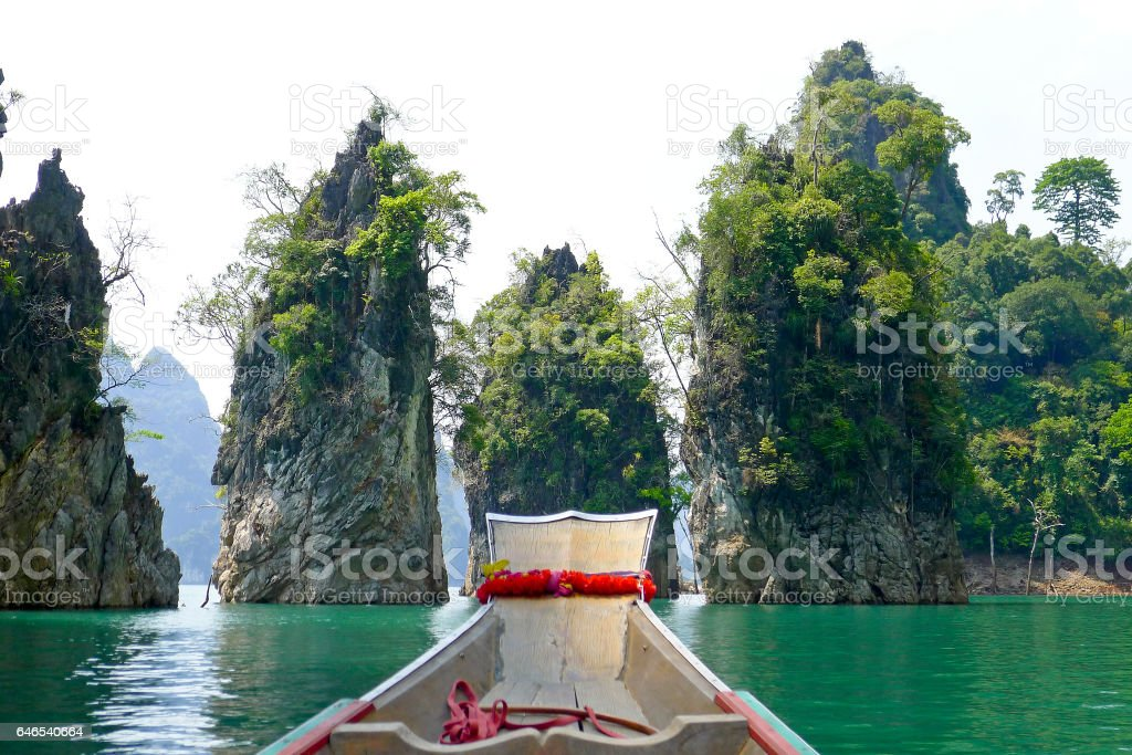 Long tail boat at lake Khao sok National parc stock photo