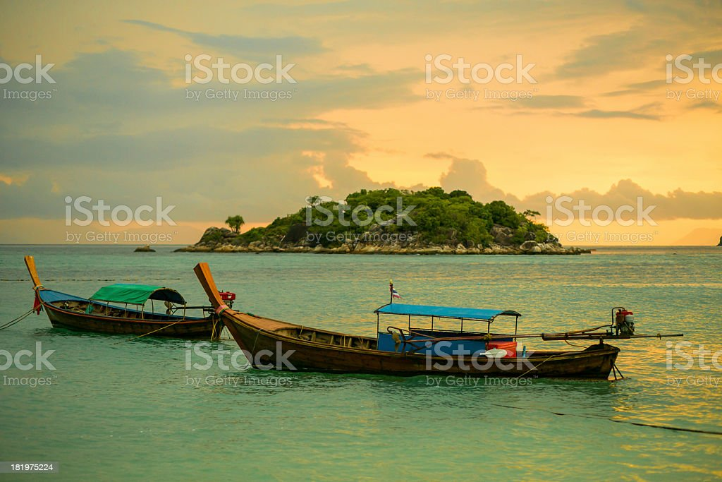 Long tail boat at sunset royalty-free stock photo