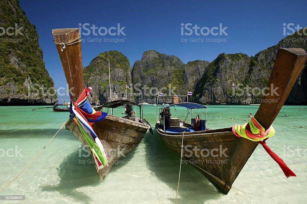 Long tail boat in Maya Bay, Thailand. stock photo