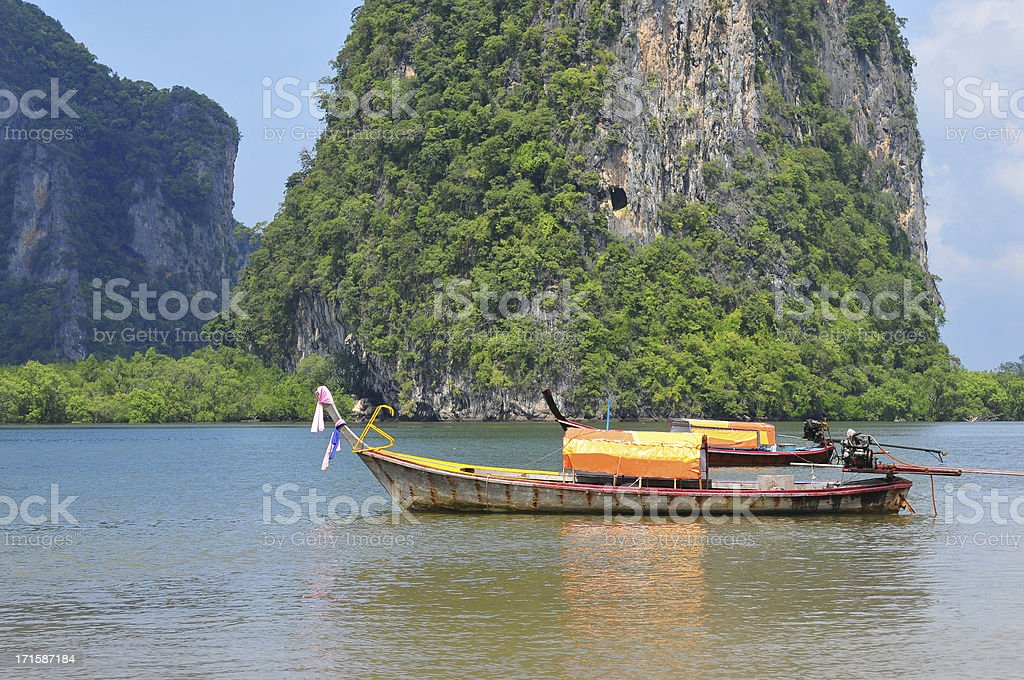 Long Tail boat  in the beautiful beach royalty-free stock photo