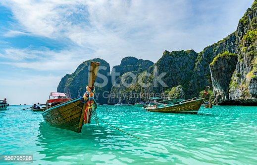 Long tail boat on the beach in phuket