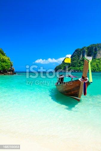 istock Long tail wooden boat at Krabi island beach 168259353